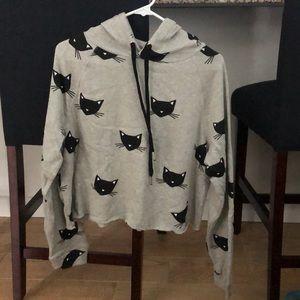 Sweatshirt NEW hooded black cats
